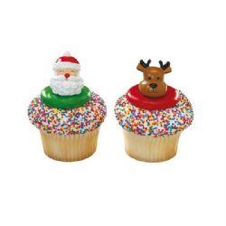 Jolly Santa And Reindeer Rings (24 Pack)