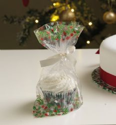 Holly Cupcake Bag With Ties (Pack Of 12)