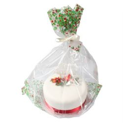 Holly Cake Bag With Ribbon & Gift Card - Pack Of 20