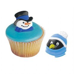 Snowman And Penguin Rings (24 pack)