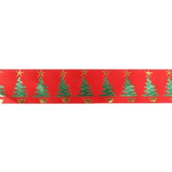 Metallic Christmas Tree Ribbon On Red  36mm X 20m