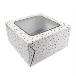Metallic Spot Cake Box 10x10x5''  Pack of 5