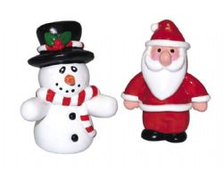 Snowman And Santa Figurines 50mm (Pack of 10)