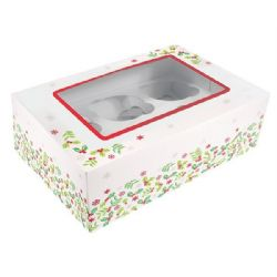 Holly Design Cupcake Box (Pack of 5)