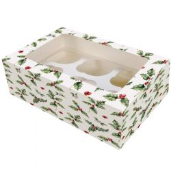 6 cavity Cupcake Box -Vintage Holly (Boxed 20)